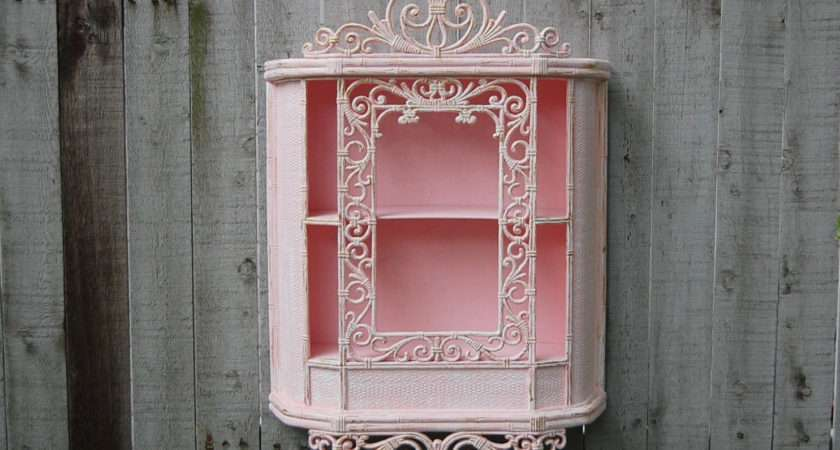 Wall Cabinet Shabby Chic Pink White Gold Thevintageartistry