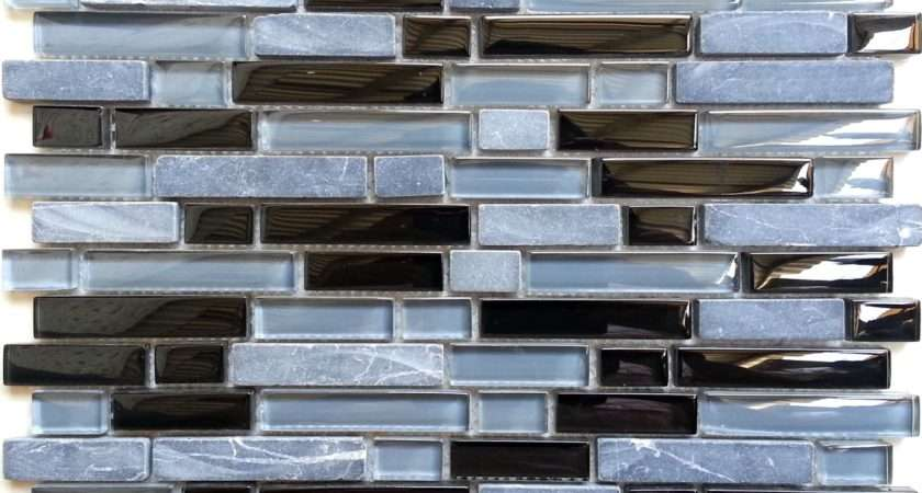 Wall Mosaic Tiles Grey Black Glass Stone Mix Brick