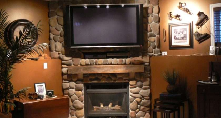 Wall Mount Flat Screen Above Stone Fireplace Design Ideas