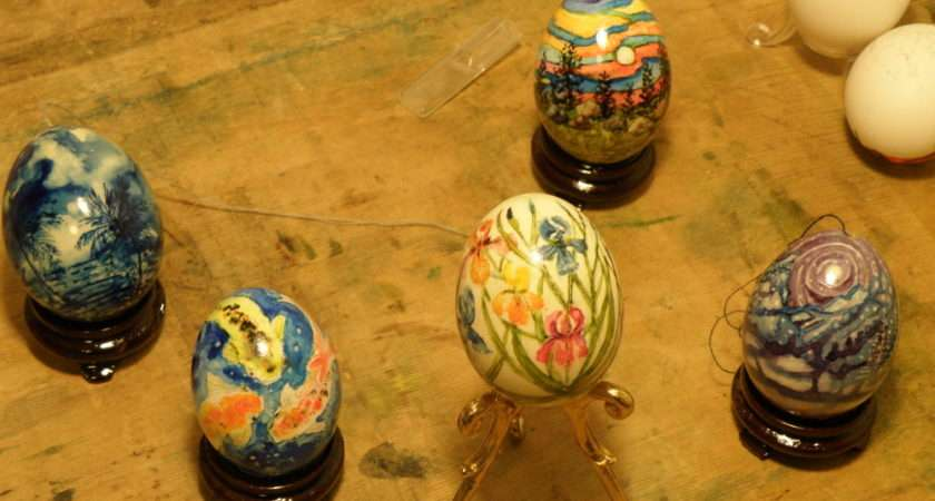 Watercolour Painted Eggs Four Duck One Goose Egg