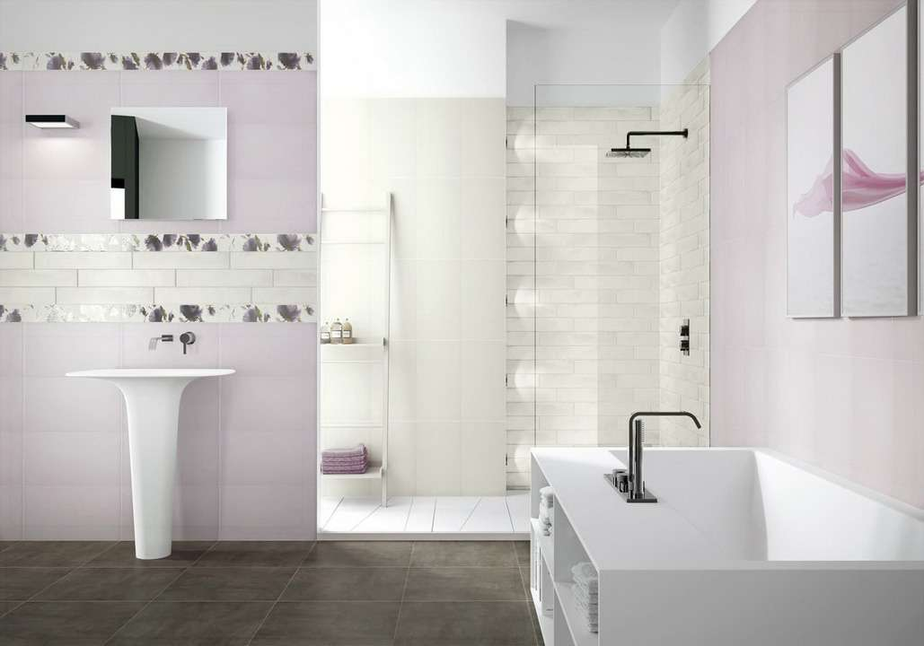 White Bathroom Wall Ceramic Tiles Design