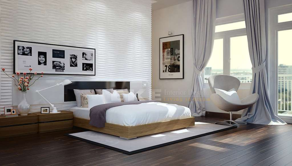 White Bedroom Heavy Silver Window Treatments Textural Feature