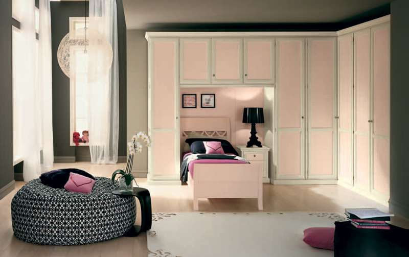 White Bedroom Interior Wooden Flooring Teen Girls Ideas