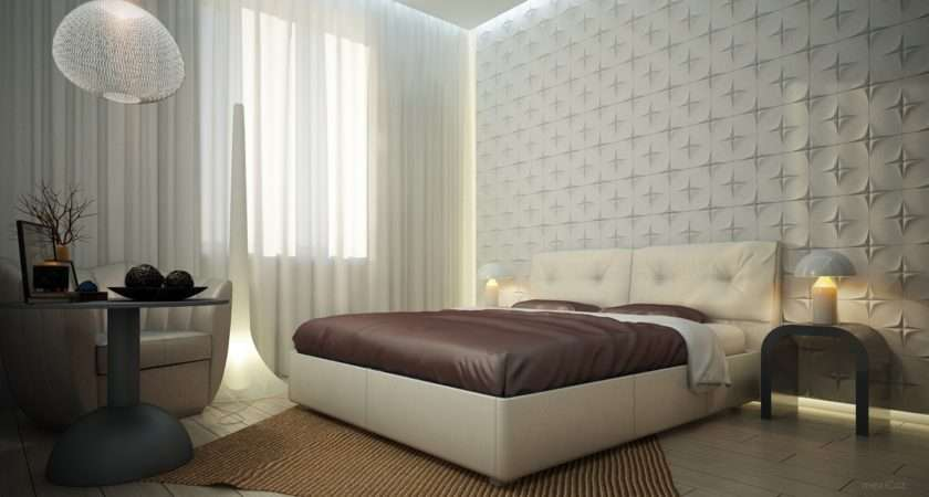 White Bedroom Textured Feature Wall Interior Design Ideas