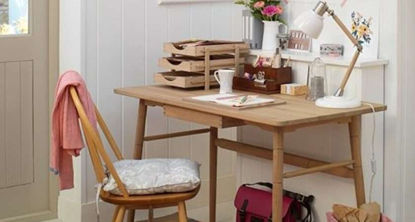 White Country Home Office Wooden Desk Decorating Housetohome