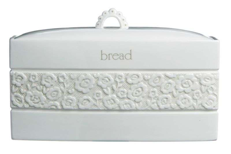 White Cream Ceramic Georgia Flower Design Bread Bin Delivery
