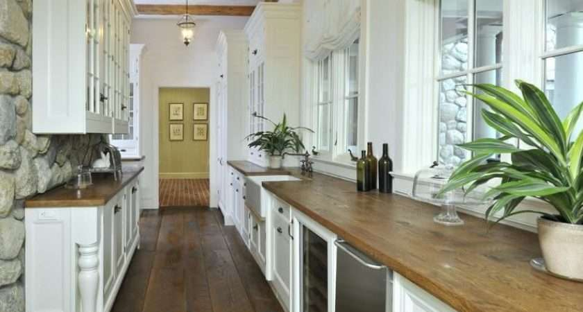 White Galley Kitchen Natural Wood Countertops While Many