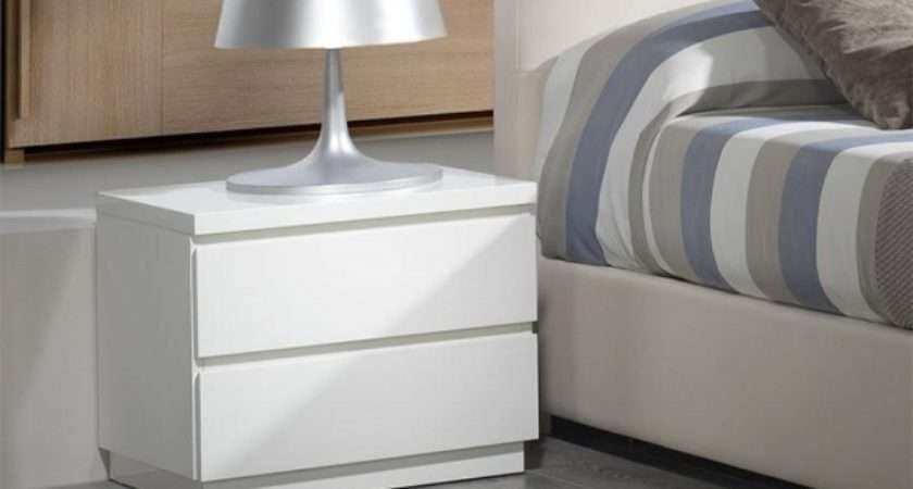 White Gloss Bedside Cabinets Modern Furnitures