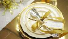 White Gold Happy New Year Elegant Fine Dining Table