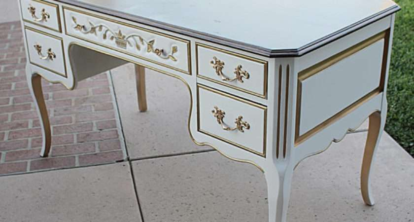 White Gold Trim French Country Provincial Large Writing Desk