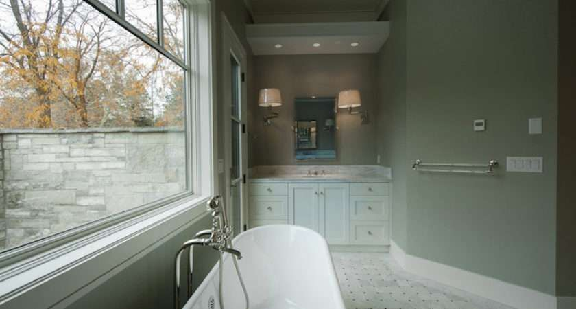 White Gray Bathroom Transitional Cameo Homes