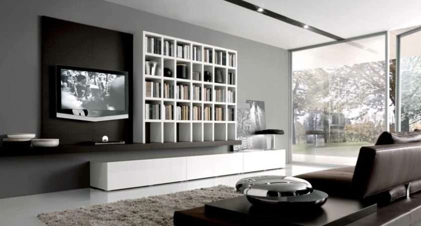 White Grey Brown Contemporary Living Spaces Built Ins