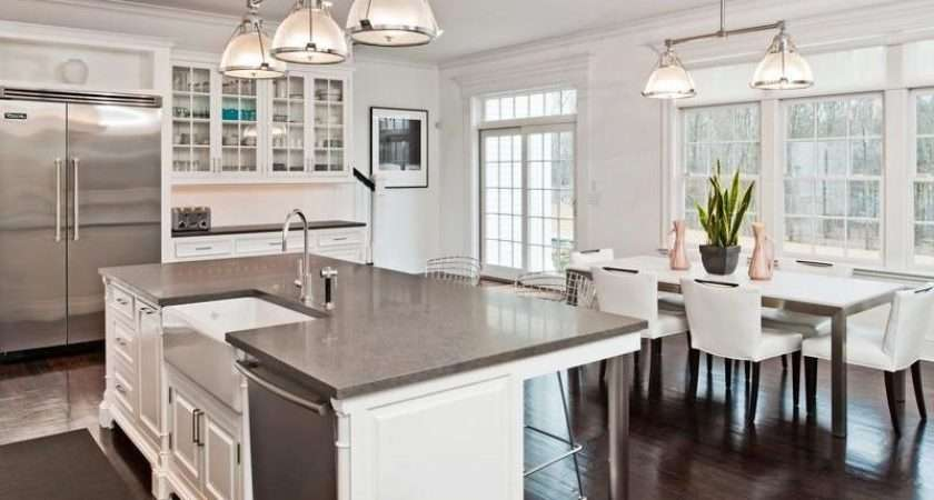 White Kitchen Gray Counters Stainless Appliances Leans