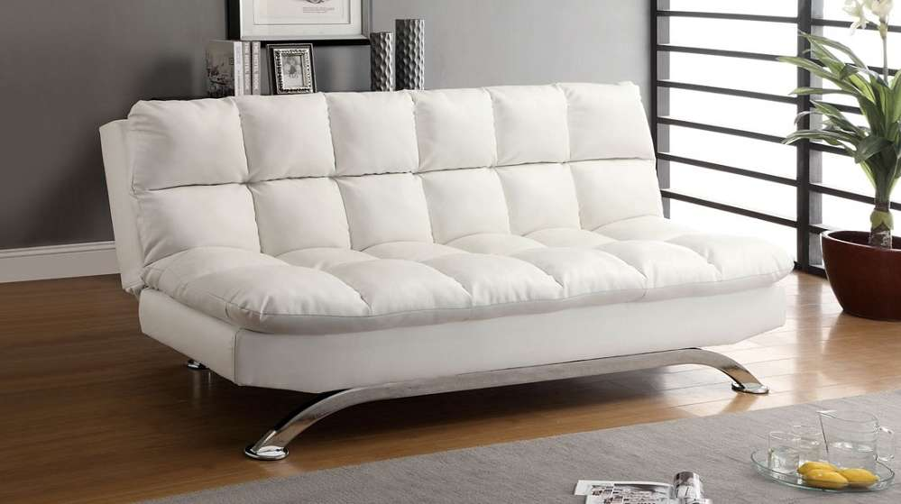 White Leather Futon Sofa Bed Comfy Pillow Top