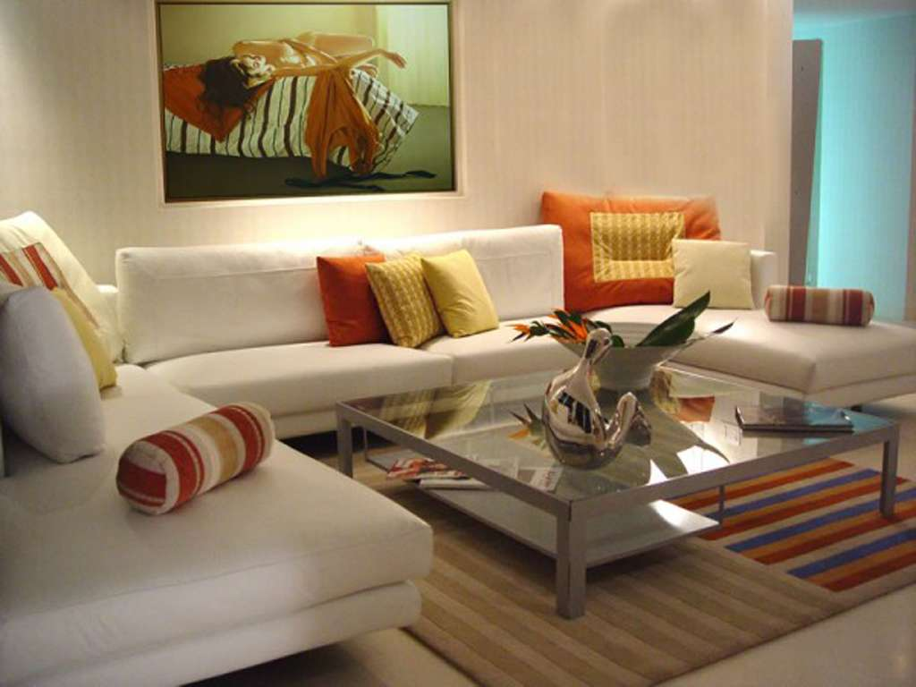 White Living Room Design Orange Accent Decoration