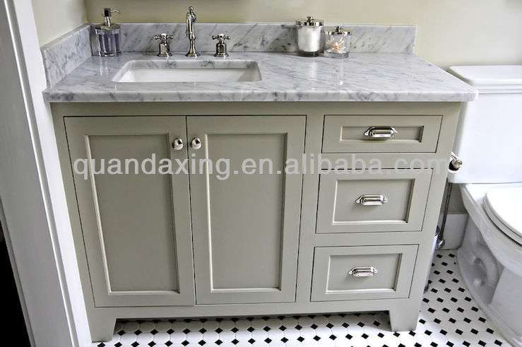 White Oak Bathroom Vanity Unit Carrara Marble Top