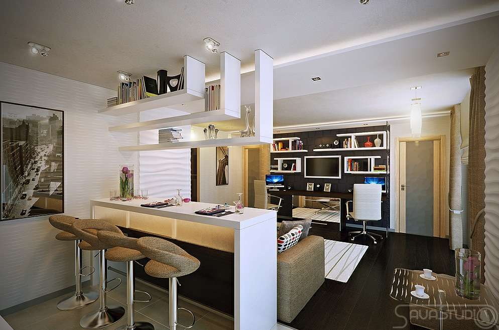 White Open Plan Kitchen Lounge Modern Olpos Design