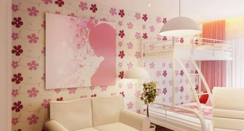 White Pink Bedrooms Girls Home Decorating Ideas