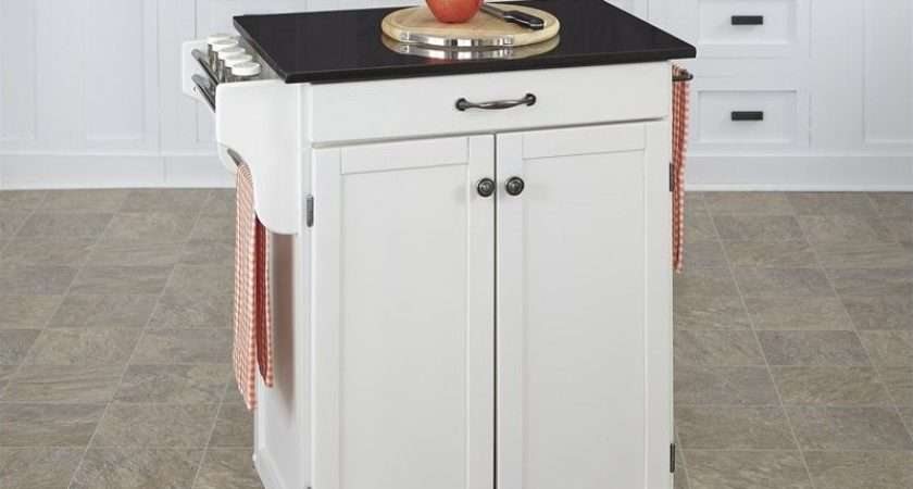 White Wood Kitchen Cart Granite Top