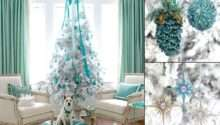 White Xmas Tree Decorations Purple Christmas
