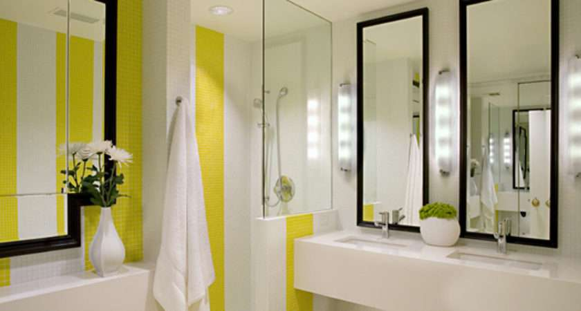 White Yellow Bathroom Contemporary Design Group