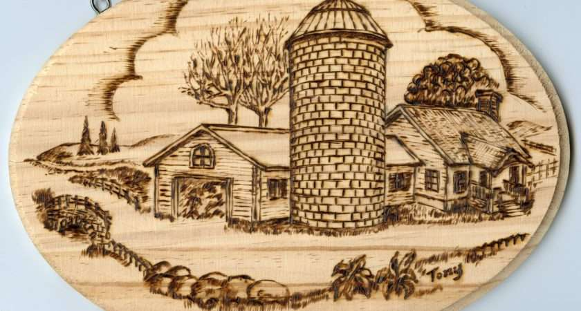 Woodburning Pyrographic Art Canadian Countryside Farms Houses