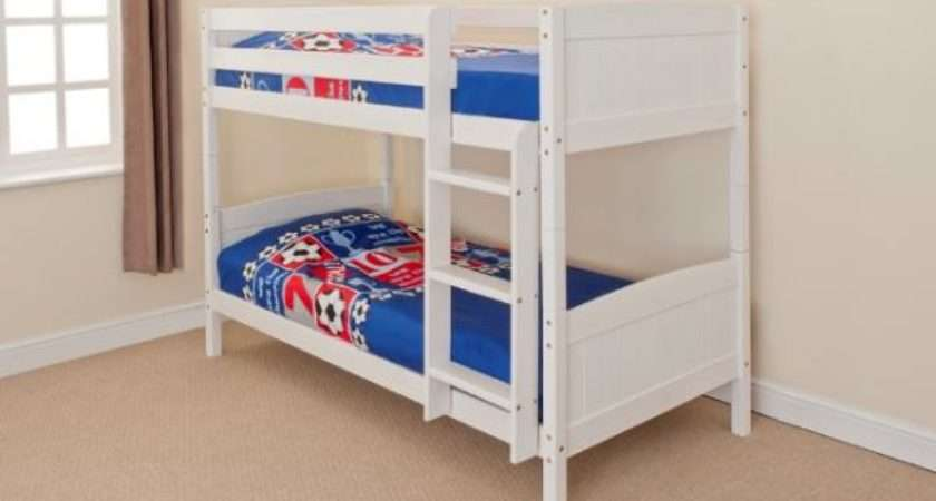 Wooden Bunk Bed Kids Childrens Single Pine White