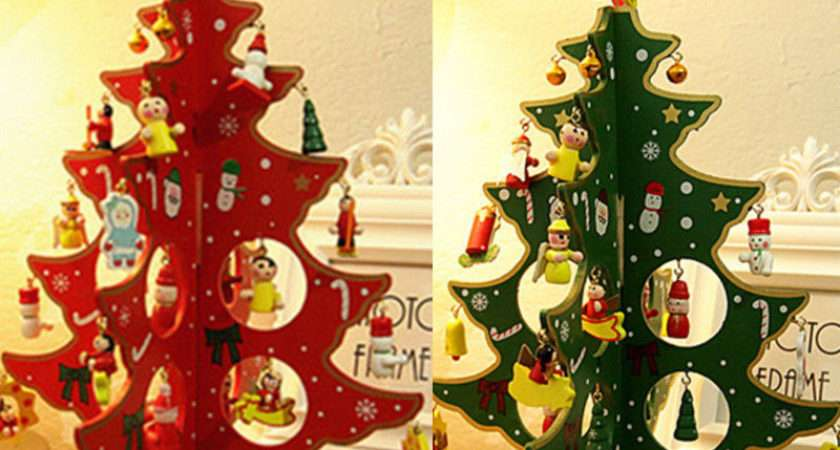 Wooden Christmas Tree Table Decoration Xmas