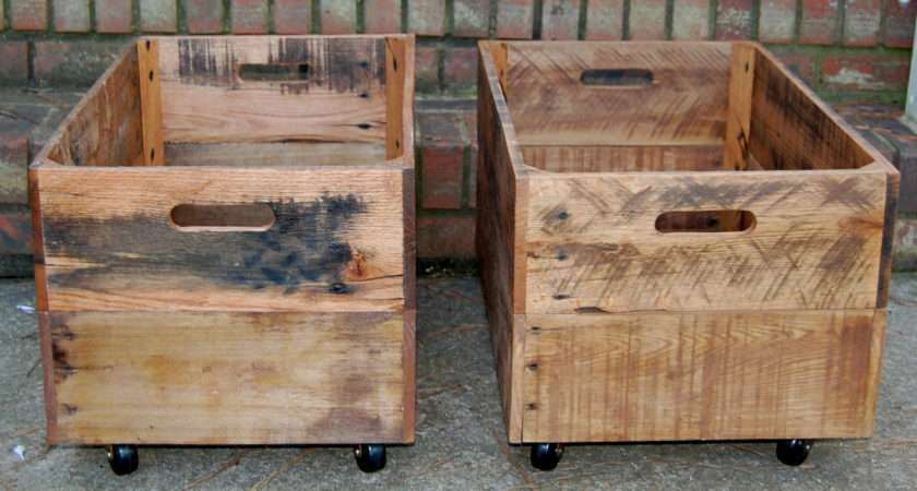 Wooden Crates Large Rolling Reclaimed Looneybintradingco