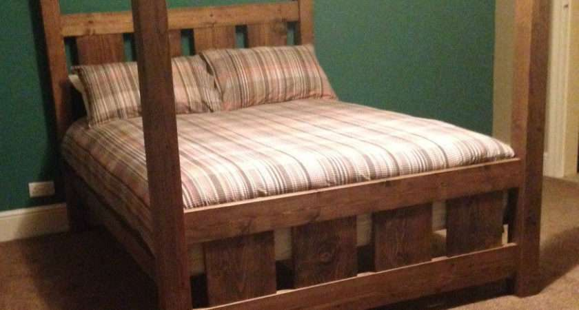 Wooden Rustic Slatted Four Poster Single Double Super King Bed