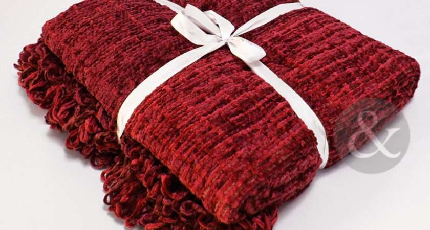 Woven Chenille Burgundy Luxury Throw Bedding