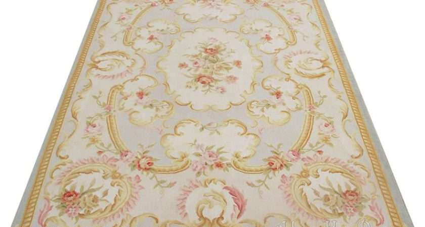 Woven Shabby Chic French Style Aubusson Area Rug Carpet Blue Ivory