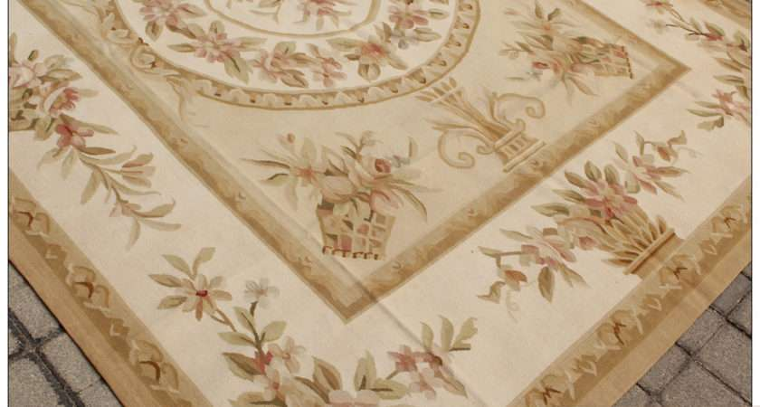 Woven Shabby Chic French Style Aubusson Area Rug Carpet Yellow Ivory