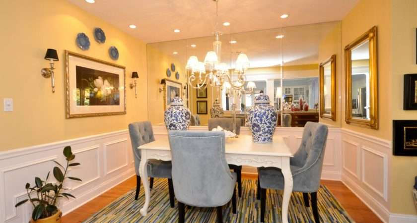 Yellow Dining Room Mirrored Wall Blue Chairs