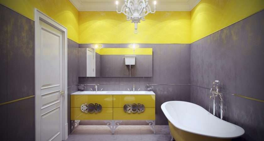 Yellow Gray Bathroom Interior Design Ideas