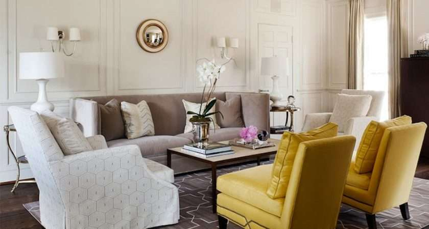 Yellow Gray Living Room Transitional Courtney Hill