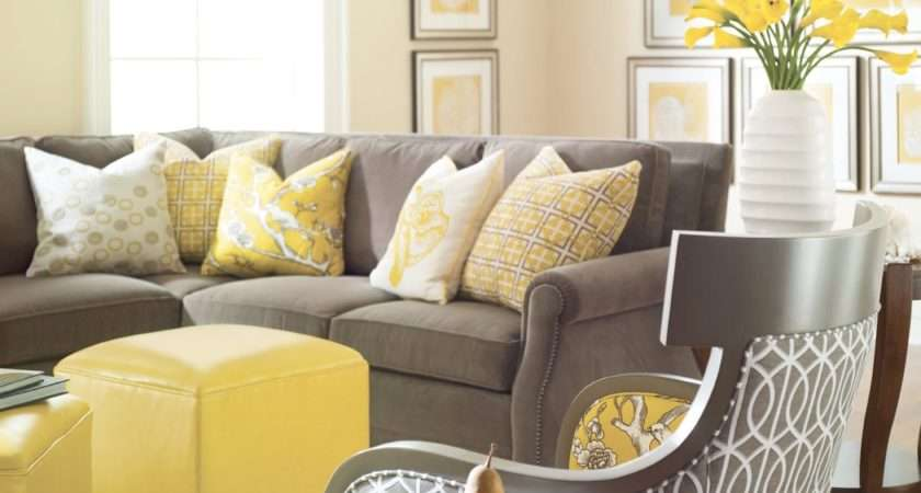 Yellow Gray White Living Room Modern Style Home
