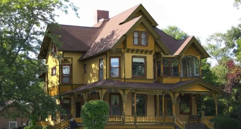 Yellow House Exterior Color Schemes Brown Roof