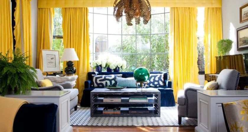 Yellow Living Rooms Color Livingroom Curtains Blue