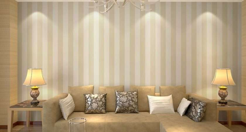 Yellow Stripe Wall Paper Rolls White Home Decor Bedroom