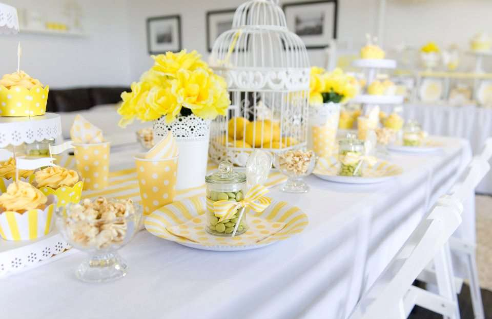 Yellow White High Tea Party Seating Table Paper Crush